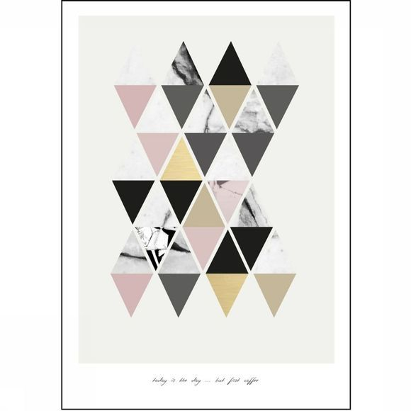 Yaya Home Wenskaarten Single 'Today Is The Day' Triangle Pattern 15X21 Cm Wit