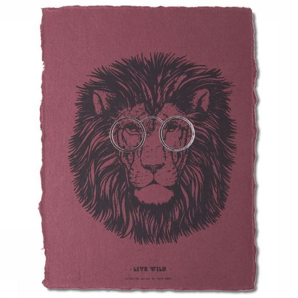 Yaya Home Poster A5 Crazy Lion Donkerpaars
