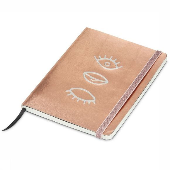 Yaya Home Papierwaren Metallic Look Notebook Eyes Zalmroze