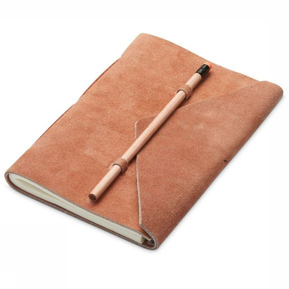 Yaya Home Papierwaren Suede Notebook With Pencil Zalmroze