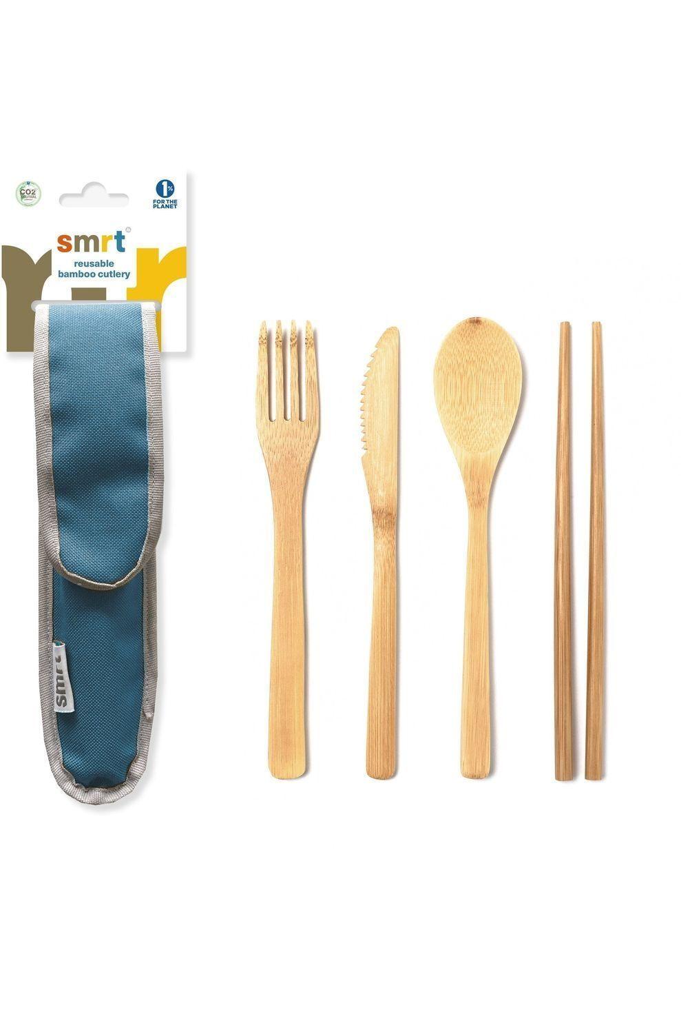 Smrt Bestek Cutlery Set Bamboo - Blauw