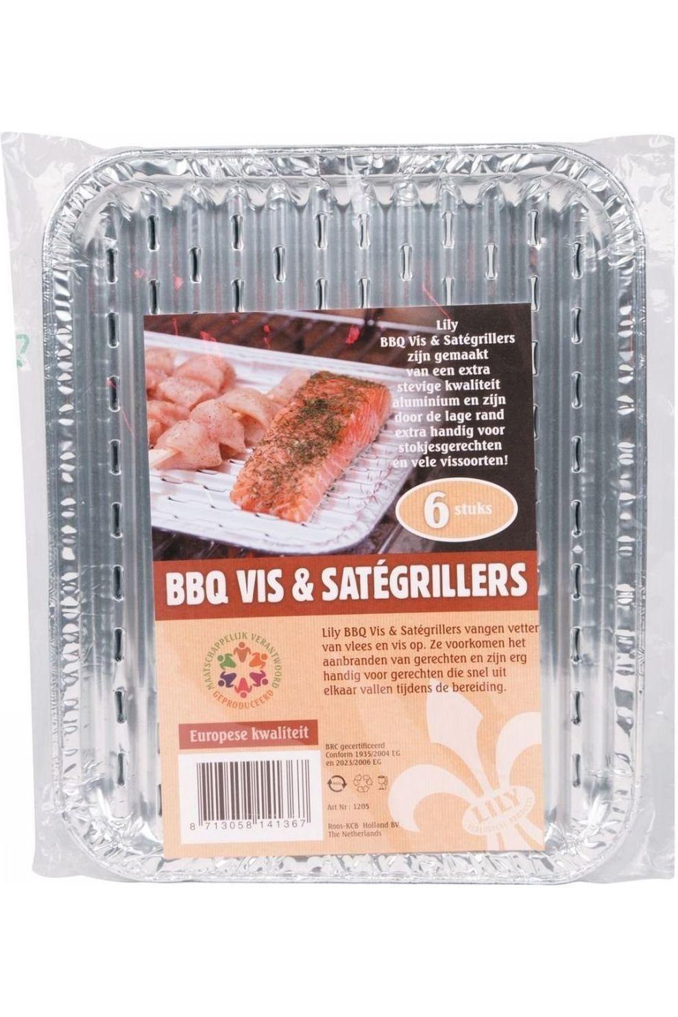 Lily Kookvuur Barbecue Vis & Satégrillers 6 Stuks - Grijs
