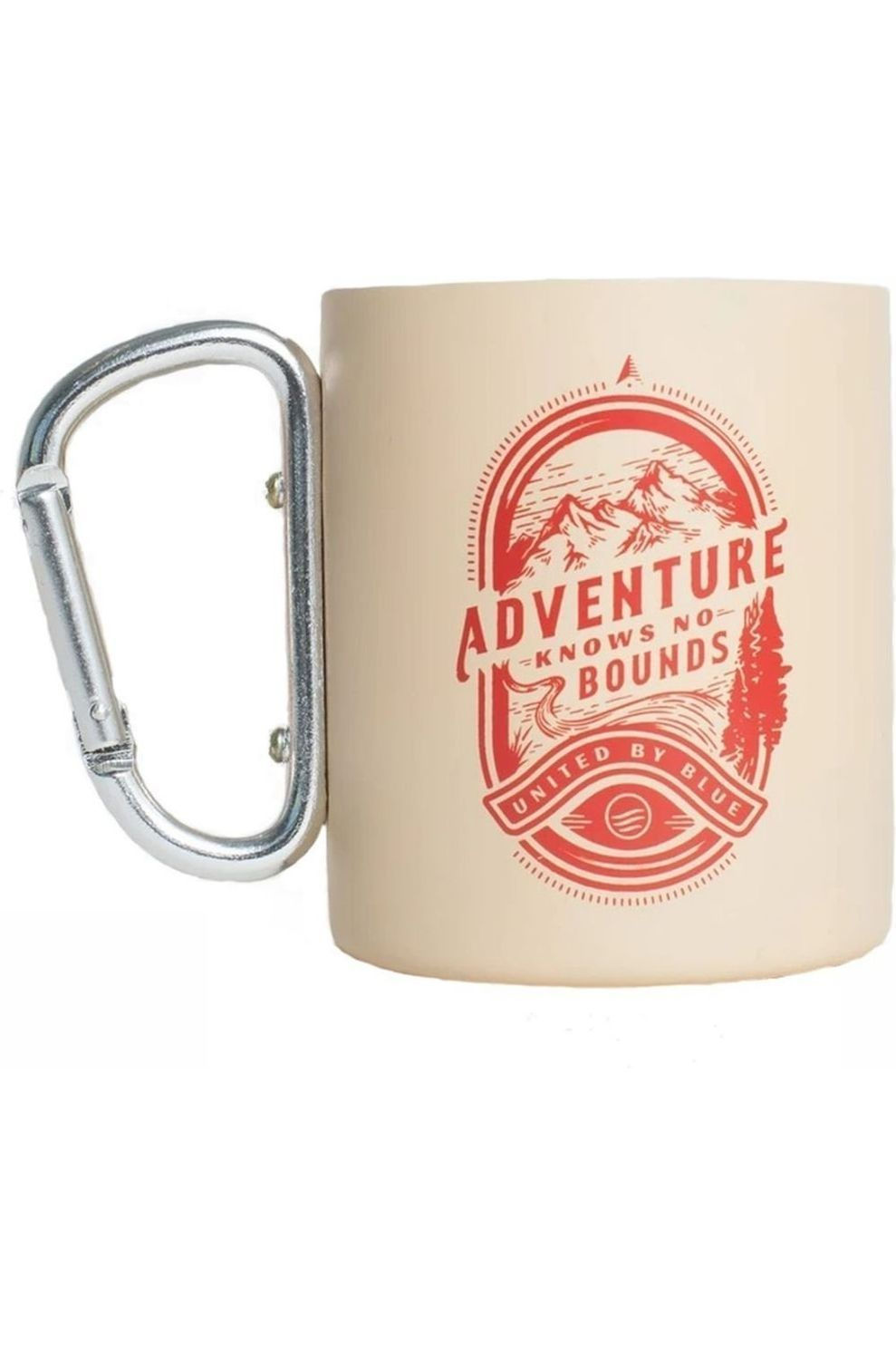 United by Blue Stainless Steel Carabiner Cup - Bruin/Rood