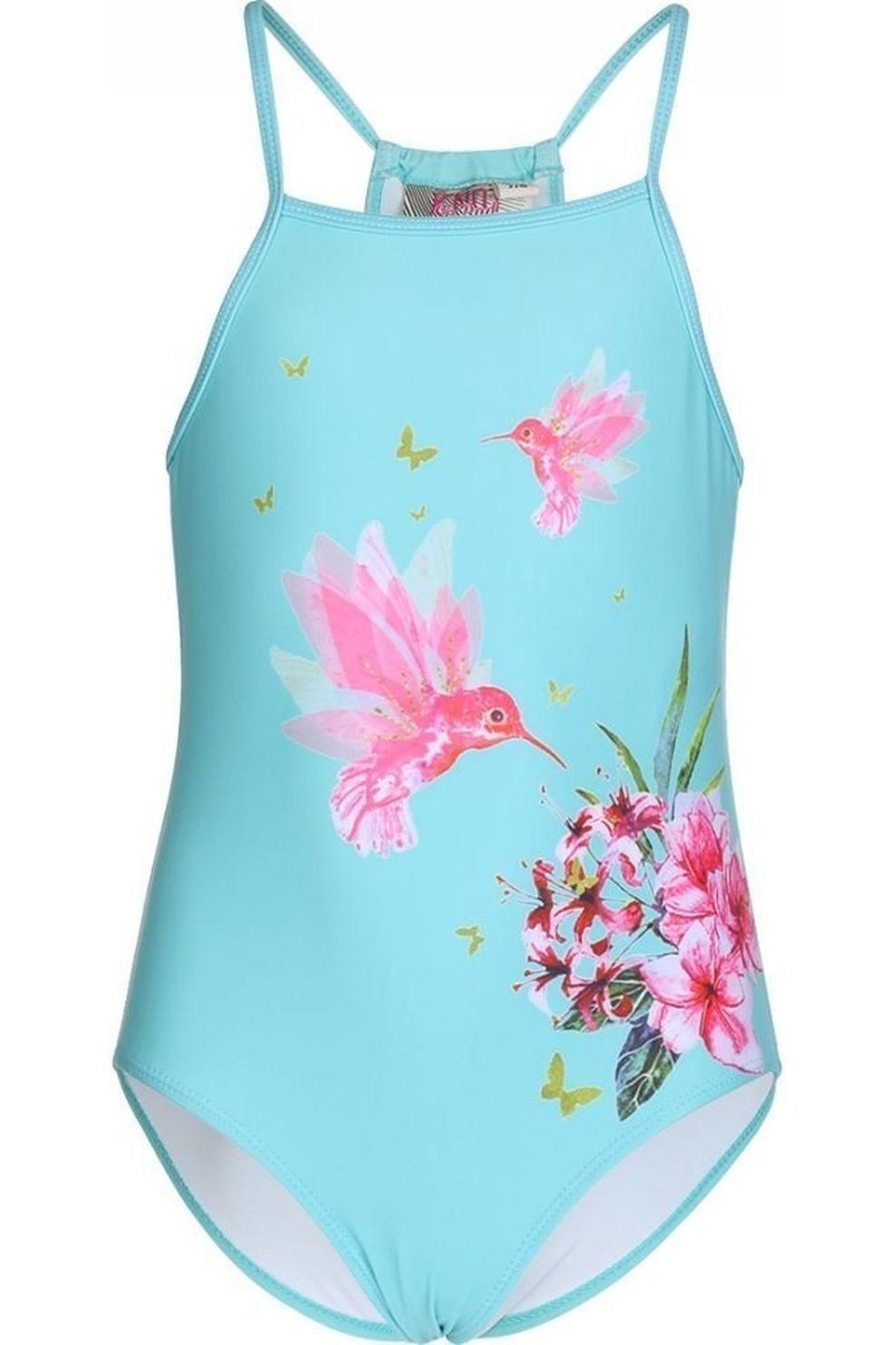 Knot so bad Badpak Hummingbirds voor meisjes - Blauw - Maat: 110