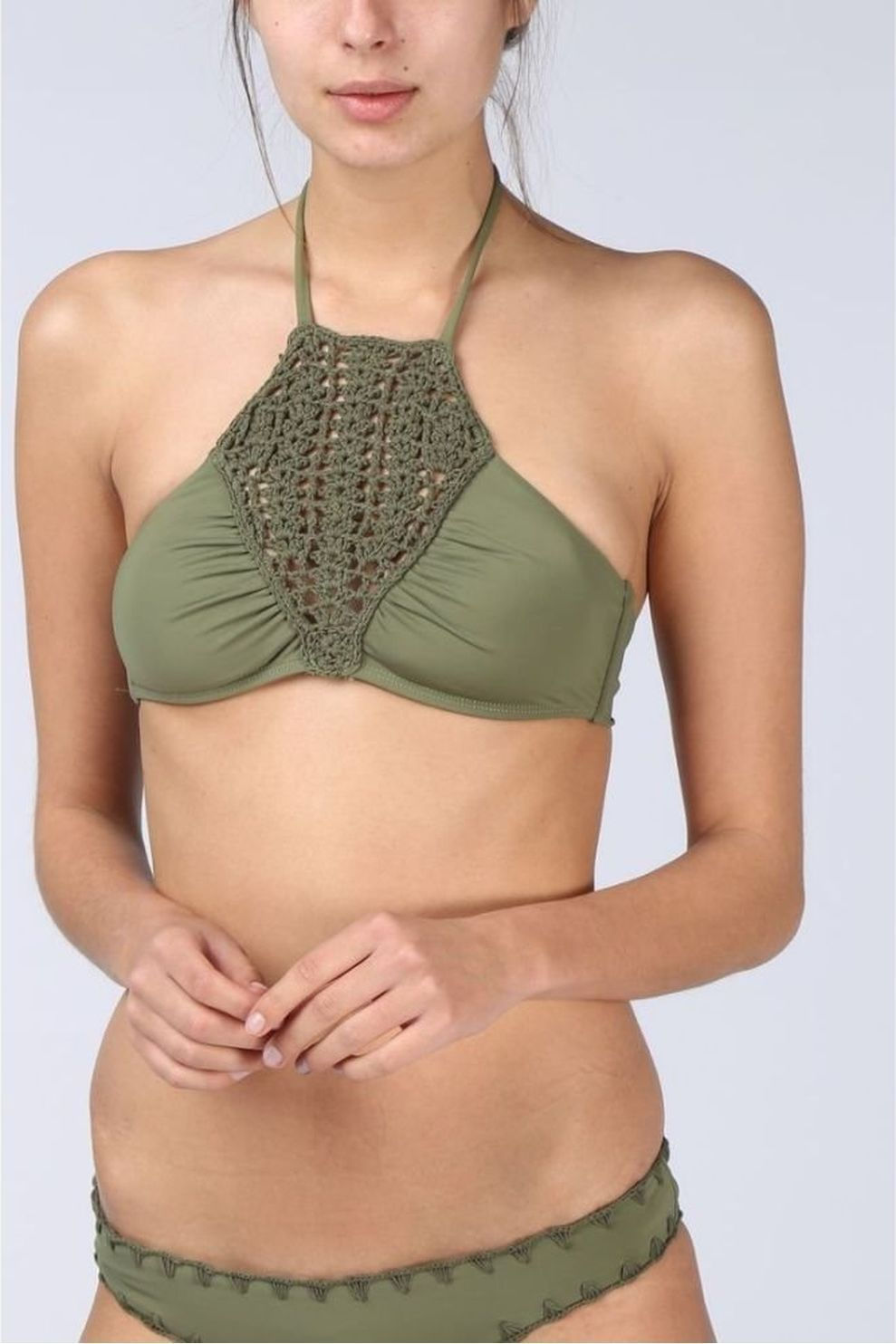 Quintsoul Bh Bali Solid Crochet High Neck voor dames - MiddenGroen - Maten: XS, S, M, L
