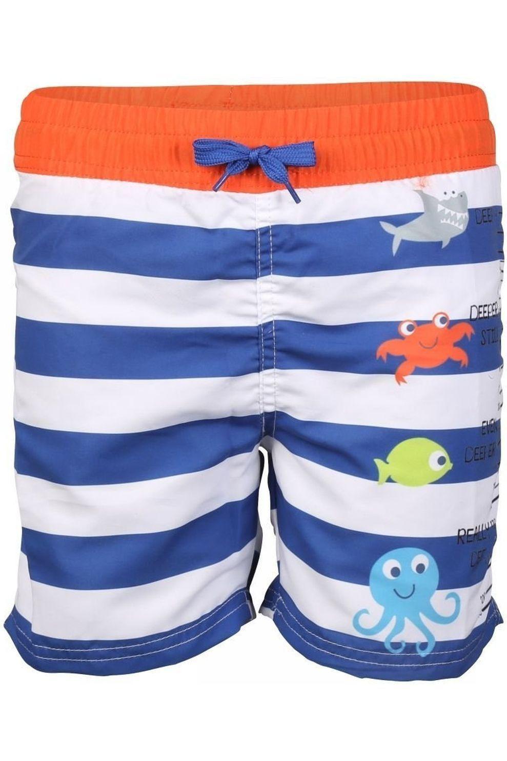 Knot so bad Zwemshort Stripe voor jongens - Blauw/Wit - Maten: 104, 128, 140