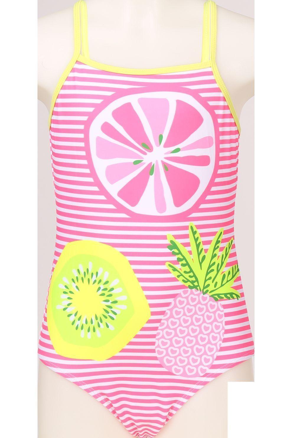 Knot so bad Badpak Fruit voor meisjes - Roze/ Gemengd - Maten: 104, 110, 116