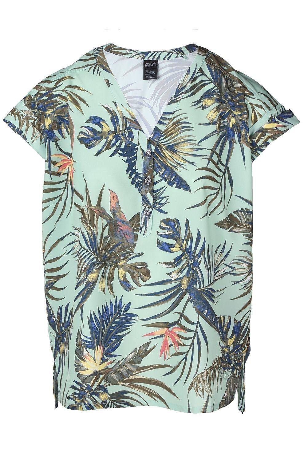 Jack Wolfskin T-Shirt Victoria Tropical voor dames - Groen - Maten: XS, S, M, L, XL, XXL