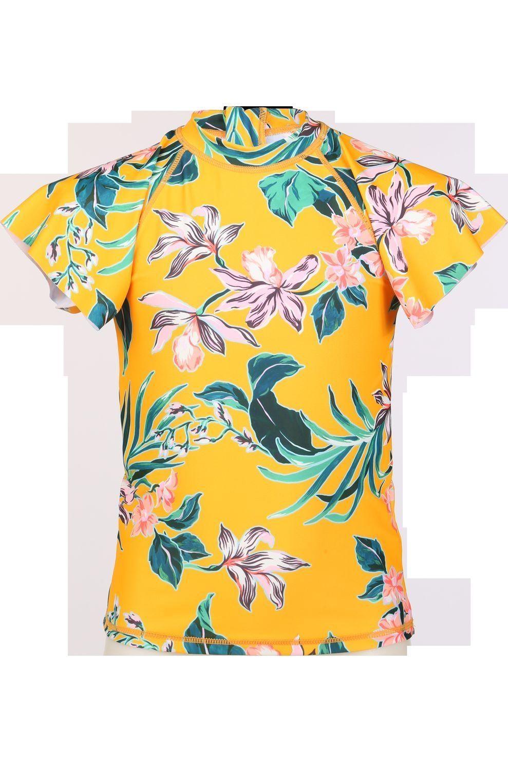 Shiwi Lycra Waikiki Rash Tee voor meisjes - Oranje - Maten: 104, 116, 128, 140, 152