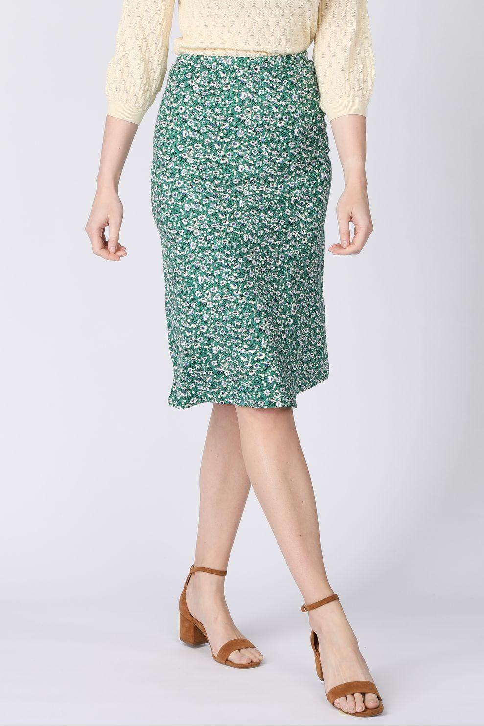 King Louie Rok Iris Skirt Perris voor dames - Groen/Wit - Maten: S, M, L, XL