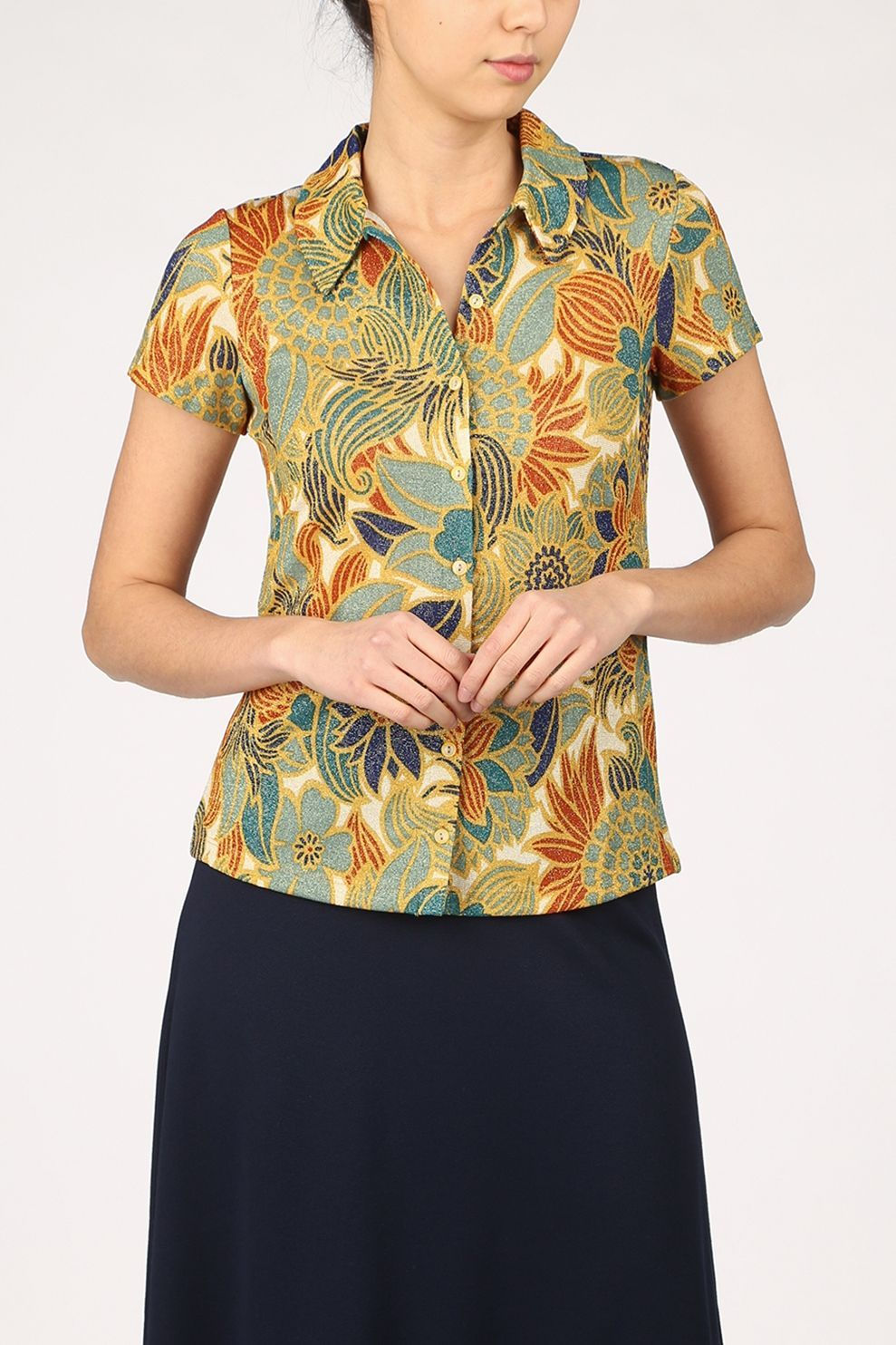 King Louie T-Shirt San Felipe voor dames - Bruin/Groen - Maten: XS, S, M, L, XL