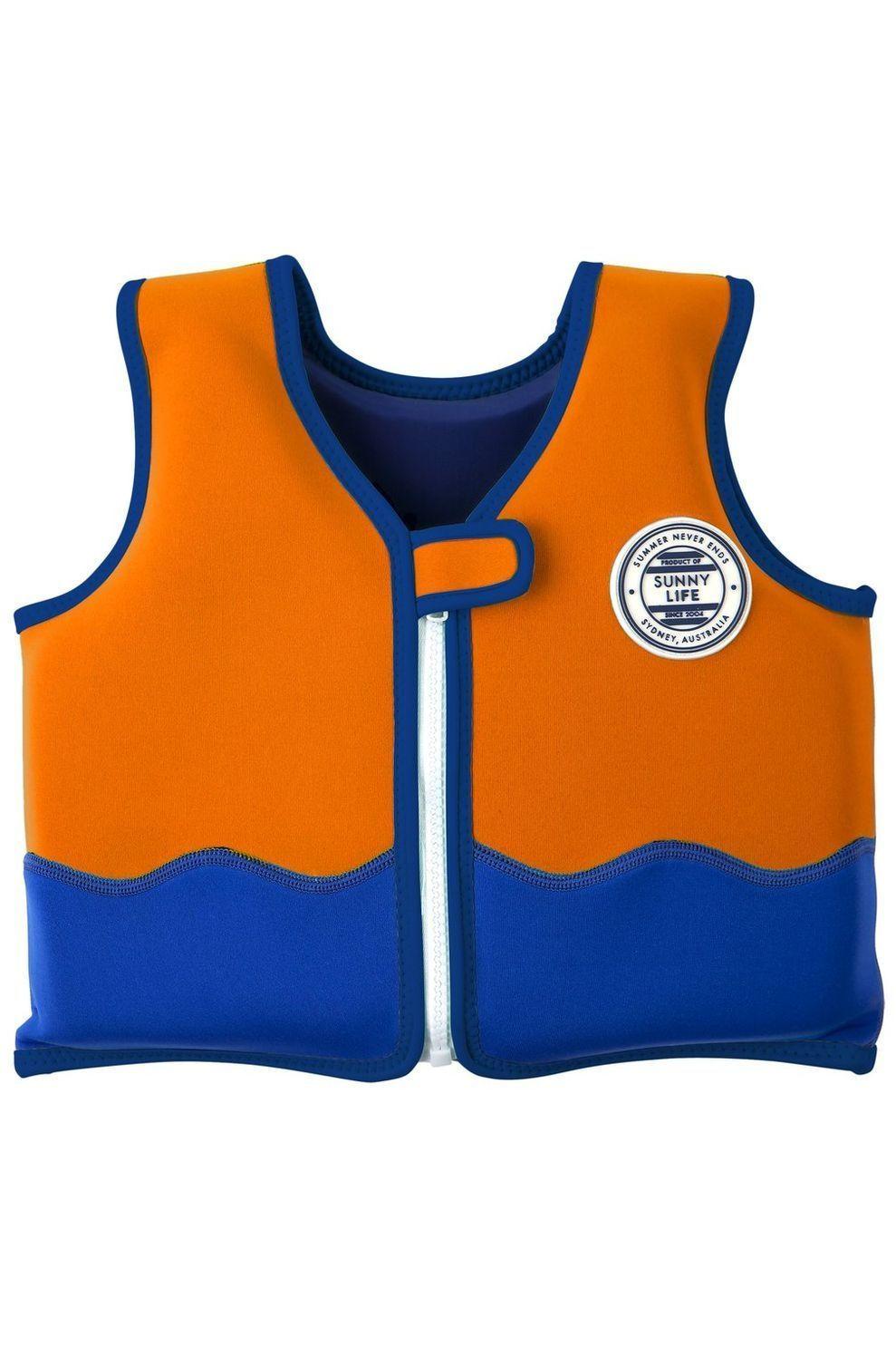 Sunnylife Zwemvest Sharky 1-2 jaar voor kids - Oranje/Blauw