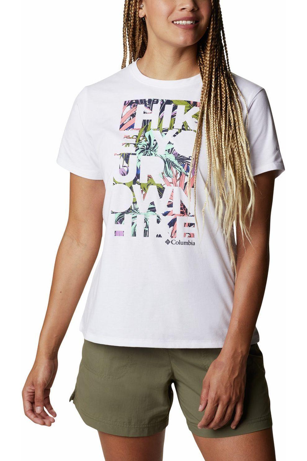 Columbia T-Shirt Sun Trek Ss Graphic voor dames - Wit/Puntig - Maat: S