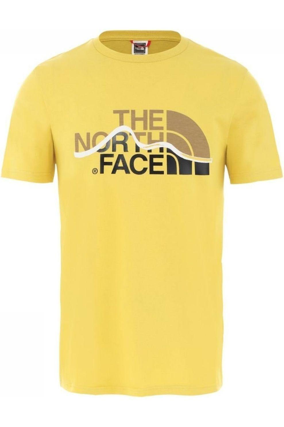 The North Face T-Shirt Mountain Line Heather Grey voor heren - Geel - Maten: S, M, L, XL