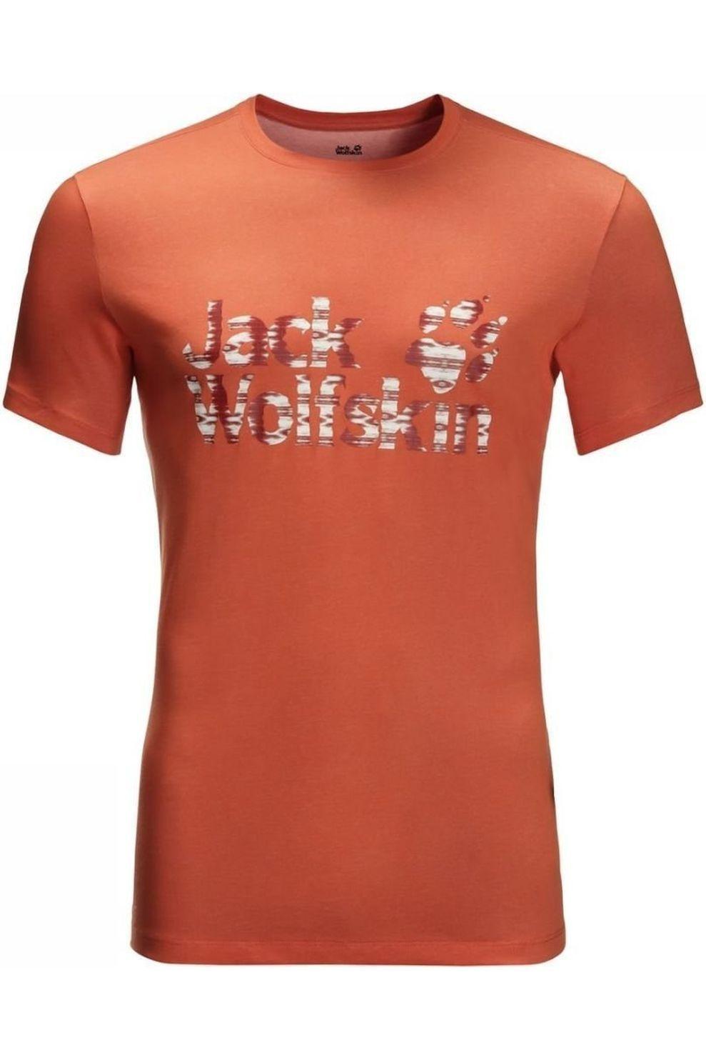Jack Wolfskin T-shirt Logo Ocean T voor heren Bruin Maten: M, L, XL, XXL