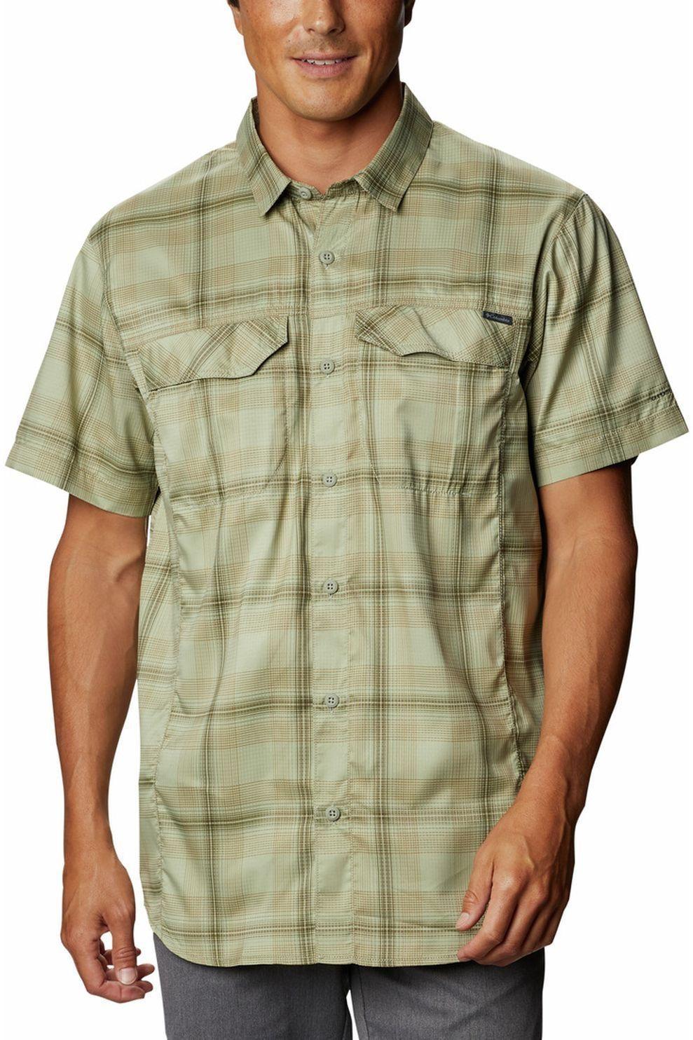 Columbia T-Shirt Silver Ridge Lite Plaid Short Sleeve voor heren - MiddenGroen/Geschakeerd - Maten:
