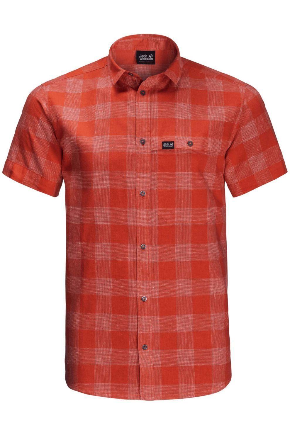 Jack Wolfskin Hemd Highlands M voor heren - Rood/Geschakeerd - Maten: S, M, L, XL, XXL, XXXL