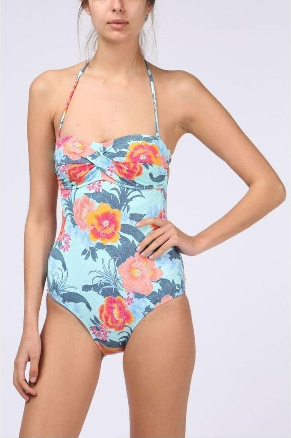 Esprit Badpak Peony Beach Bandeau voor dames Blauw-Ass. Bloem Maat: 36