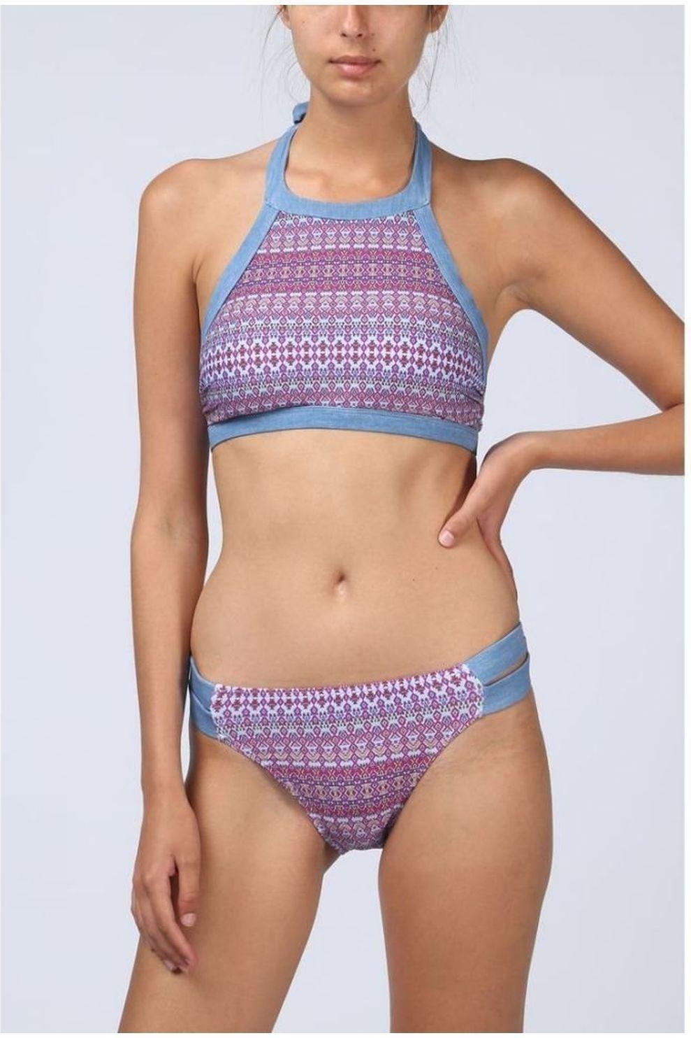 Esprit Bh Sara Beach Padded High Neck voor dames - Blauw - Maten: 38, 40