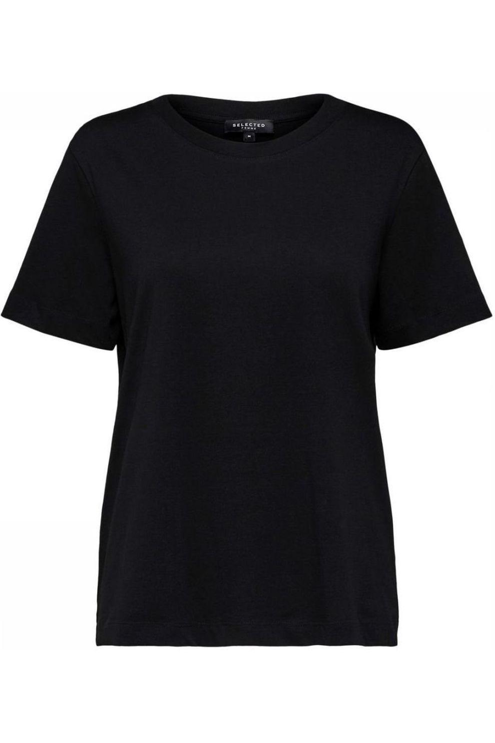 Selected T-Shirt Standard Ss Nos voor dames - Zwart - Maten: XS, S, M, L, XL