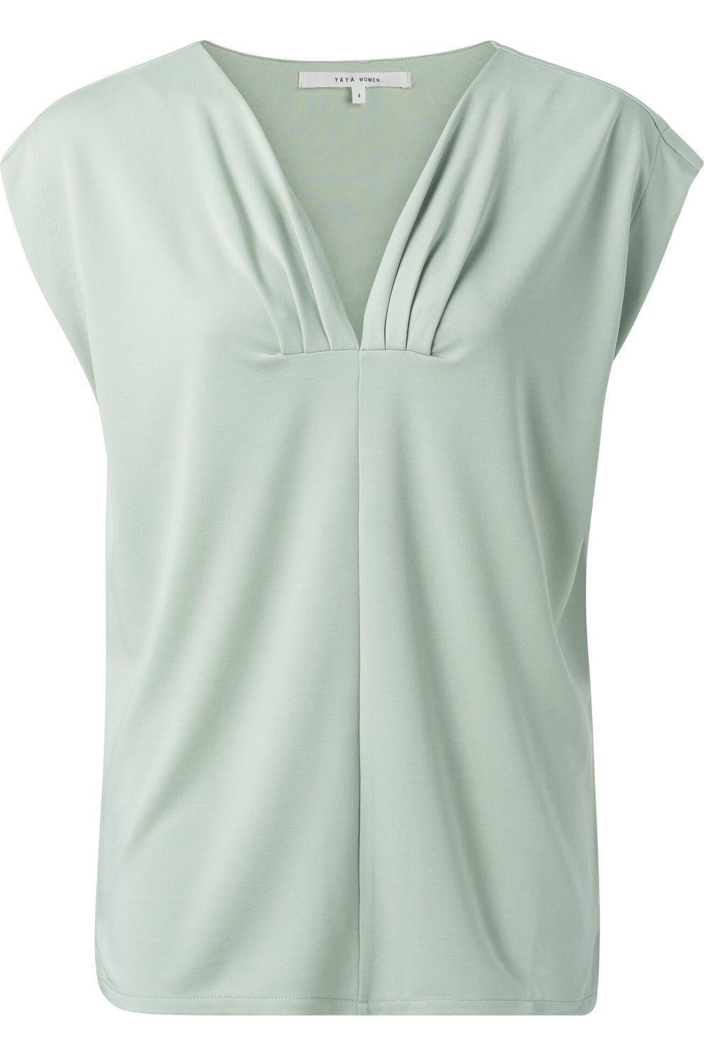 YAYA T-Shirt With Pleated Neckline voor dames - Groen - Maten: XS, S, M, L, XL