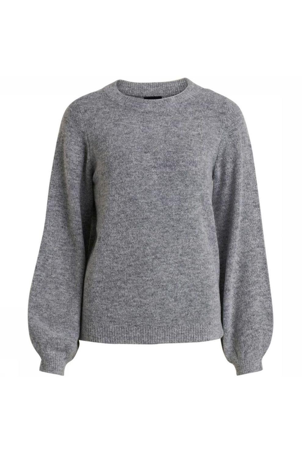 Object Trui Eve Nonsia Ls Knit voor dames - Grijs Mengeling - Maten: XS, M, L, XL