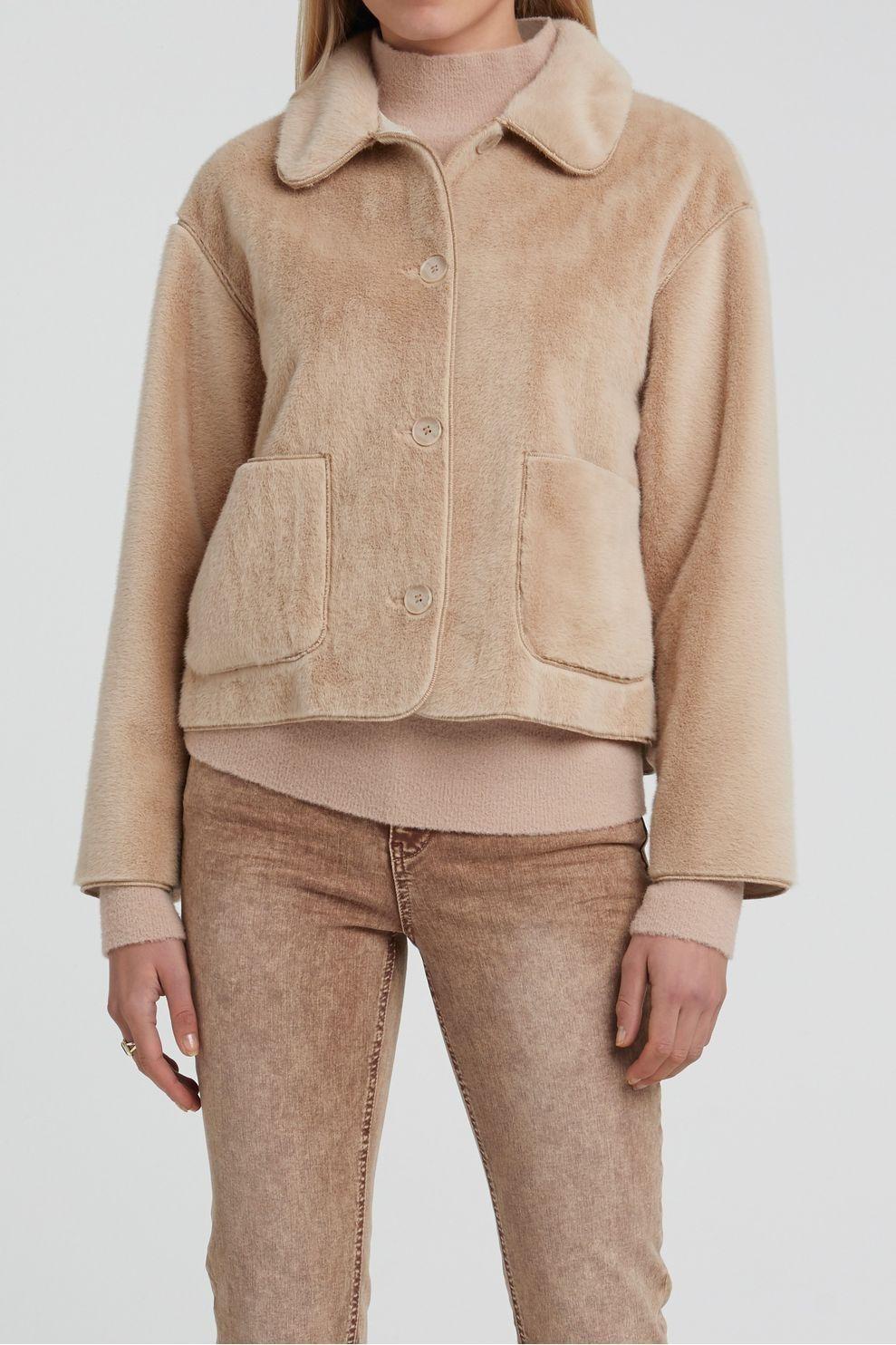 YAYA Blazer Short Faux Fur voor dames - Bruin - Maat: 42