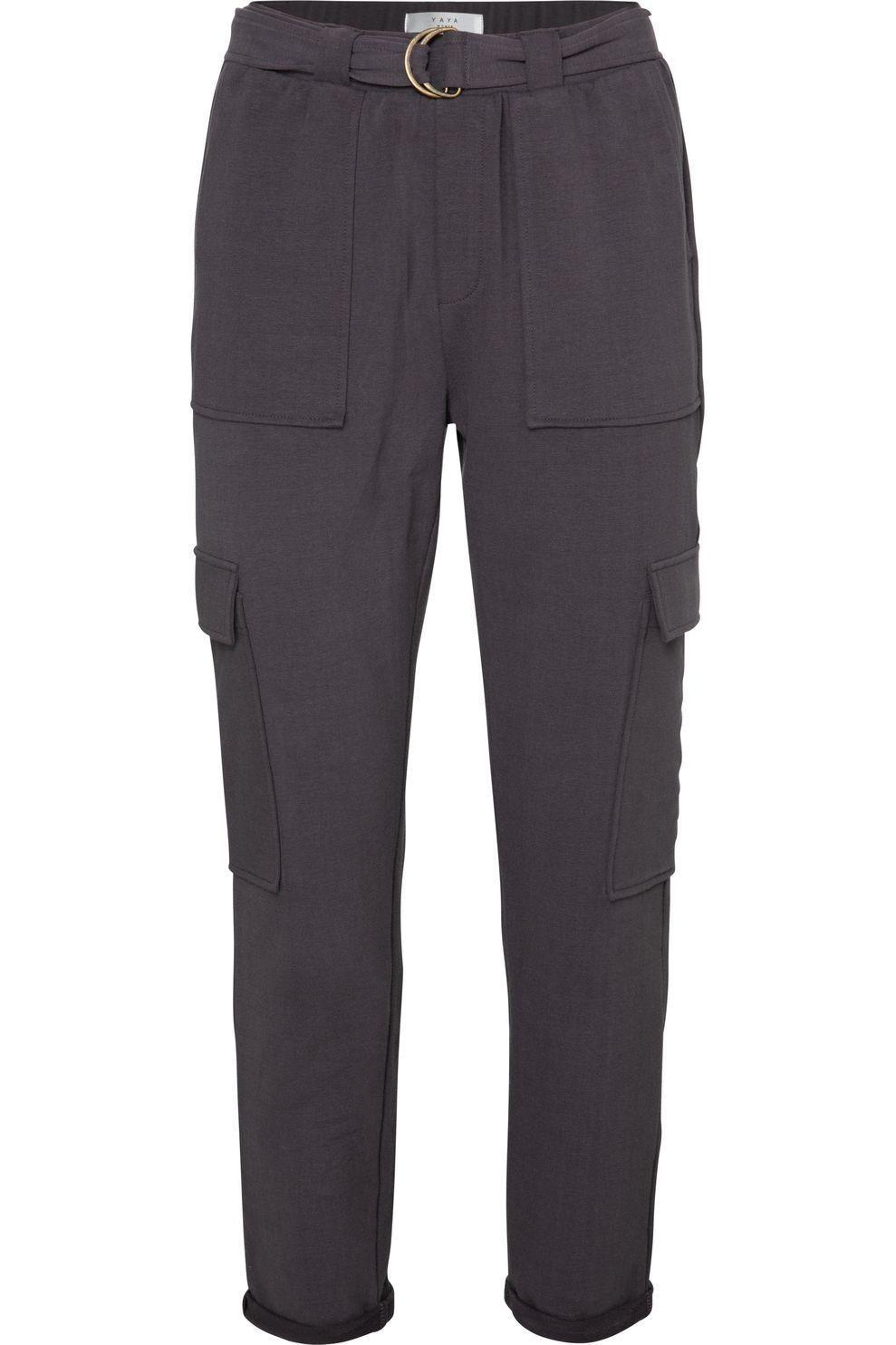 YAYA Broek Belted Cargo Jogger Pants With Folded Hems voor dames - Grijs - Maten: S, M, L