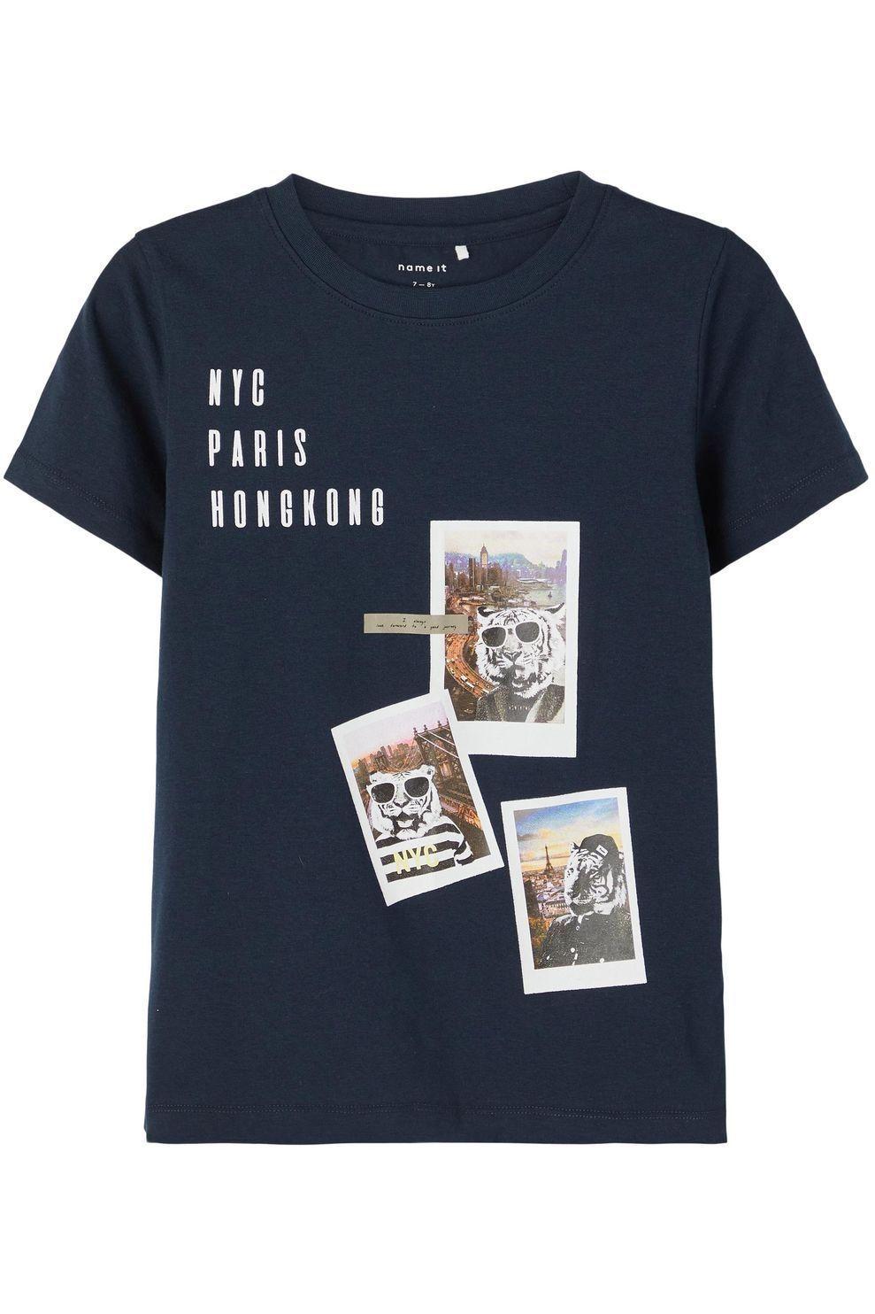 NAME IT T-Shirt Nkmfaust voor jongens - Blauw - Maten: 116, 128, 140, 152, 164
