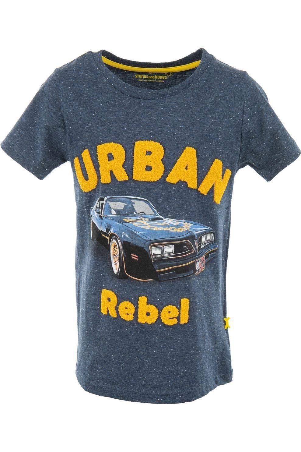 STONES and BONES T-Shirt Russell - Urban Rebel voor jongens - Blauw - Maten: 116, 128, 140, 152