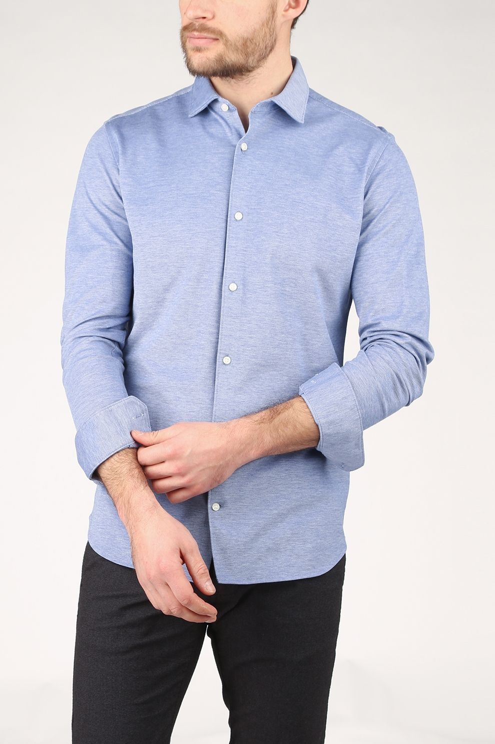 Premium Hemd Jprblaknit Oxford L/S Noos voor heren - Blauw - Maten: S, M, L, XL, XXL