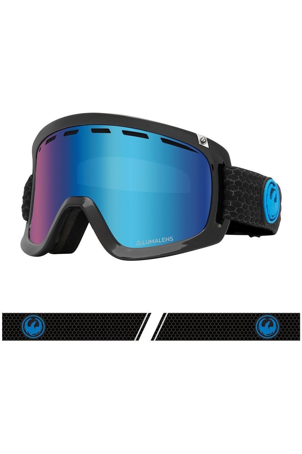 Dragon Skibril D1 Otg voor heren Zwart-Blauw