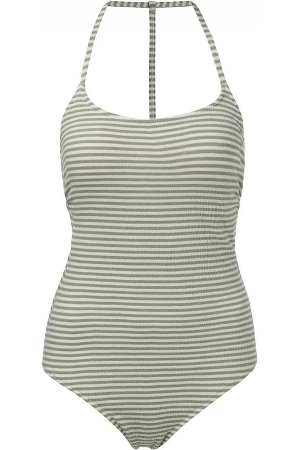 YAYA Badpak Stripes One-Piece With Thin Straps And Racer Back voor dames - Wit/MiddenGroen - Maten: