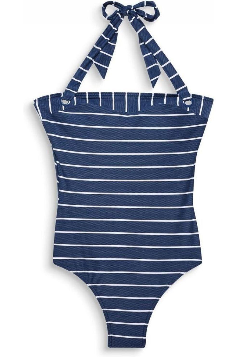 Esprit Badpak Nelly Bandeau Swimsuit voor dames - Blauw/Wit - Maat: 38