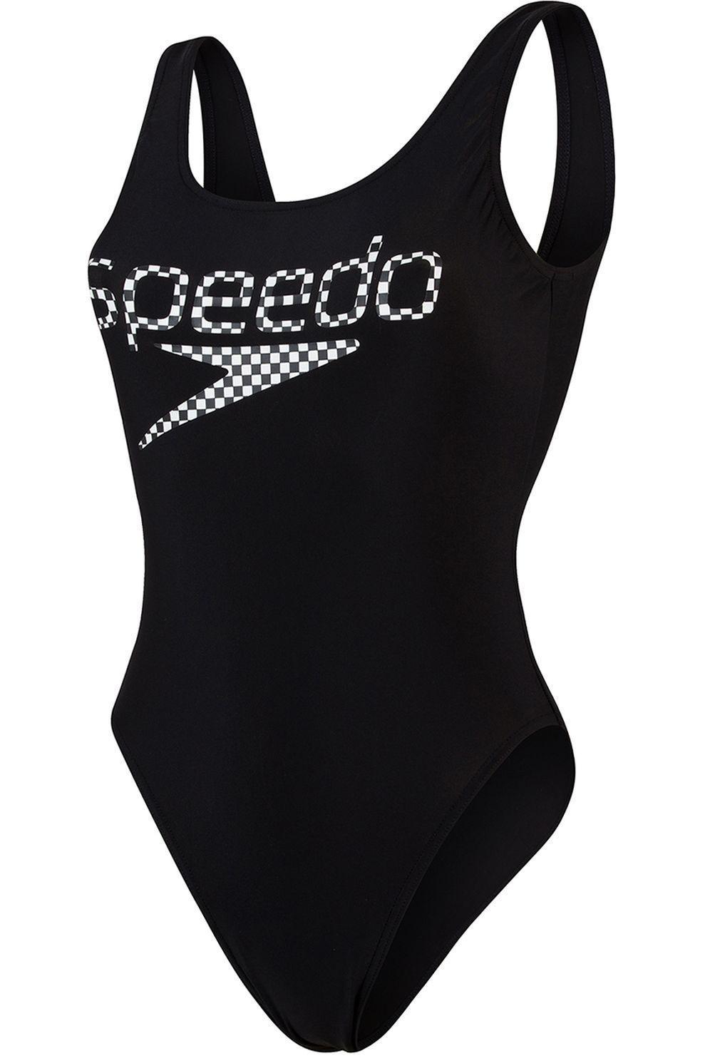Speedo Badpak Stripe Logo Deep Ub voor dames - Zwart/Wit - Maten: 36, 38, 40, 42, 44