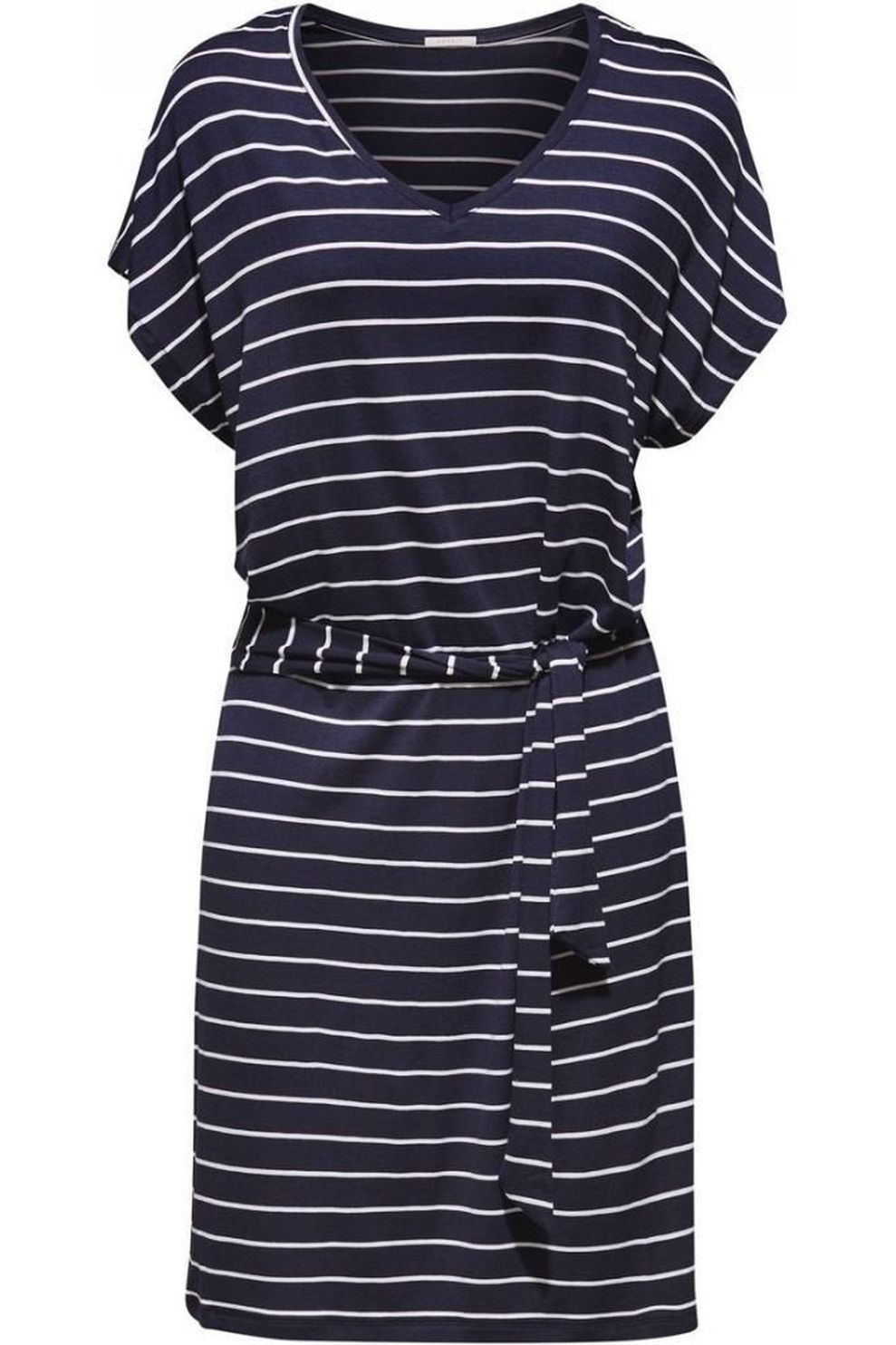 Esprit Jurk Port Beach Dress Cotton Stripe Sl voor dames - Blauw/Wit - Maten: XS, M