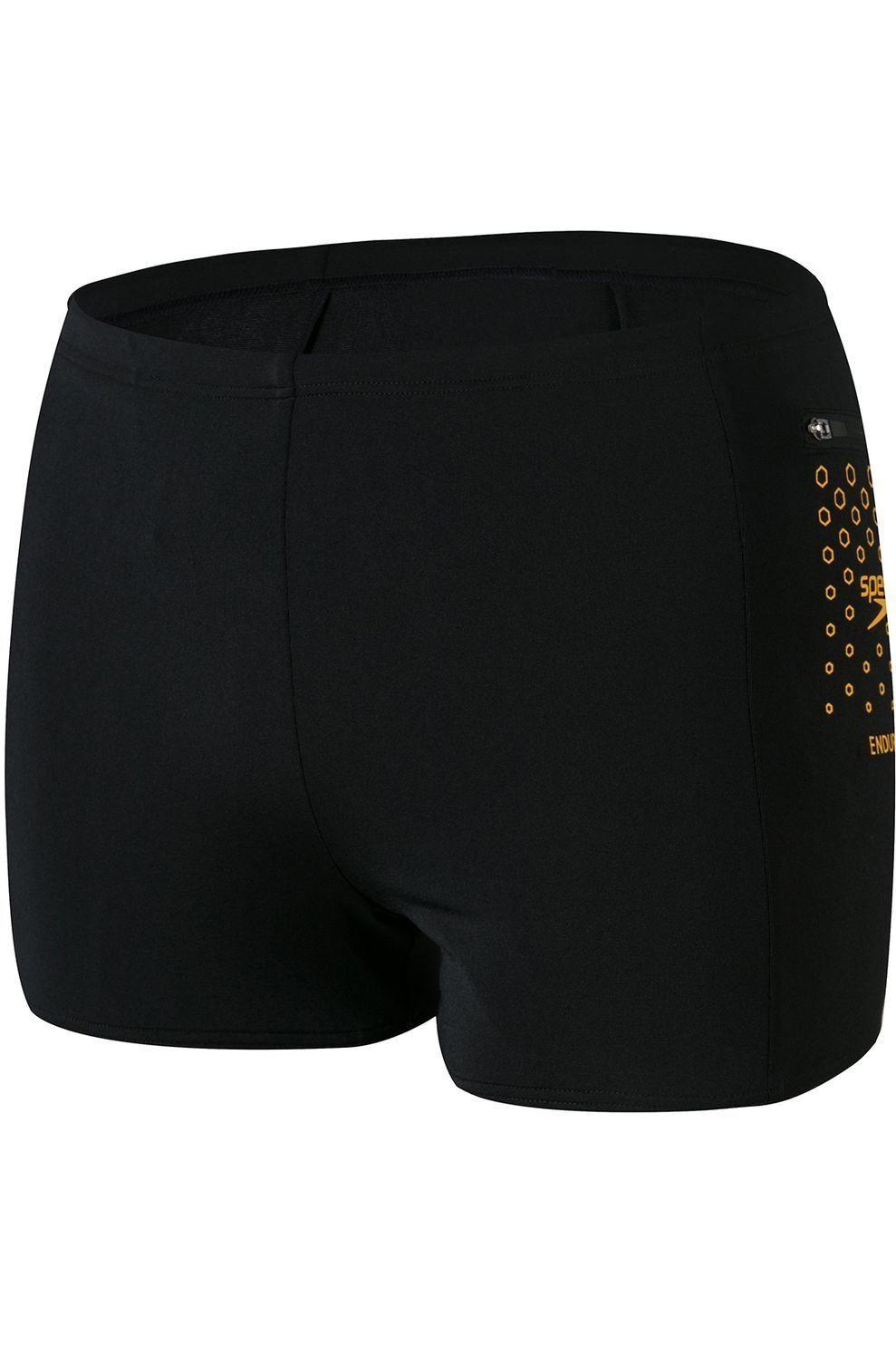 Speedo Slip Pocket Aquashort voor heren - Zwart/Oranje - Maten: 30, 32, 34, 36, 38, 40