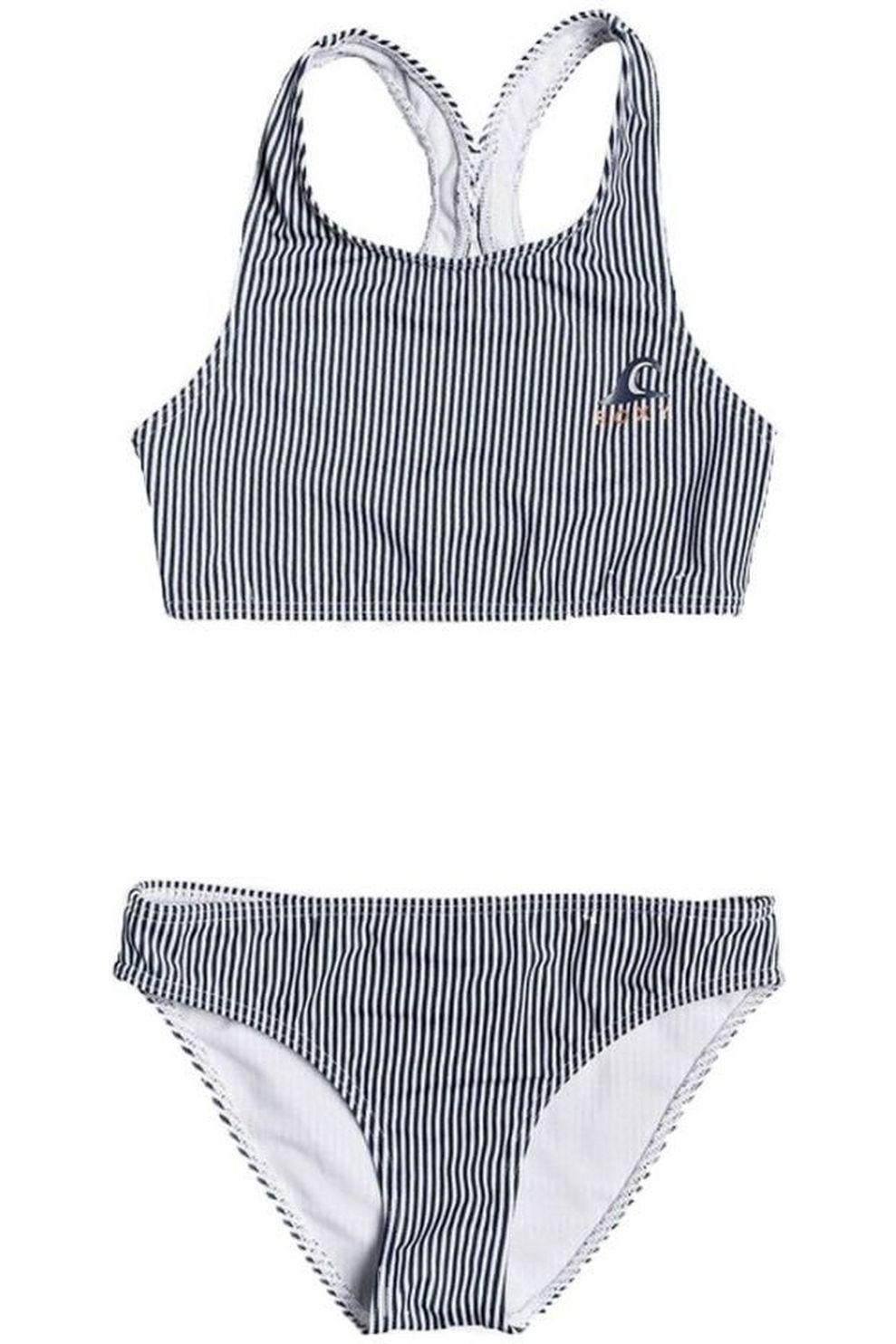 Roxy Bikini Early Roxy Crop voor meisjes - Wit/Blauw - Maat: 164