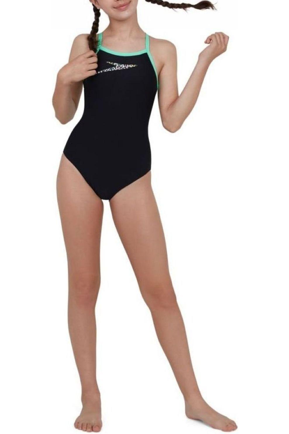 Speedo Badpak Boom Placem Thinst Muscleb voor meisjes - Zwart/Groen - Maten: 140, 152, 164, 176