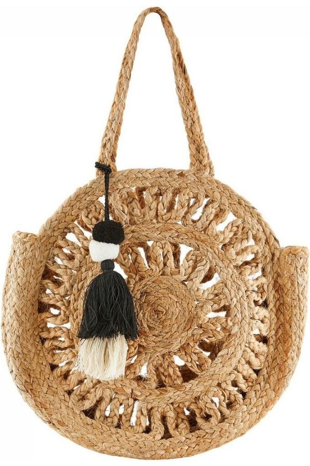 Pieces Tas mani Jute Round Bag voor dames - Wit