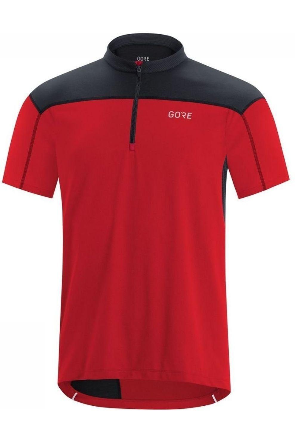 GORE WEAR T-Shirt C3 Zip voor heren - Rood/Zwart - Maten: S, M, L, XL, XXL