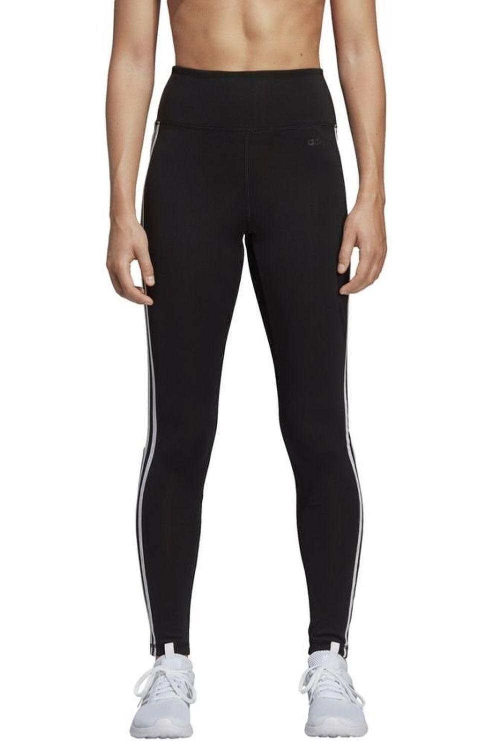 adidas Legging Design 2 Move 3-Stripes High-Rise Long voor dames - Zwart - Maten: XS, S, M, L