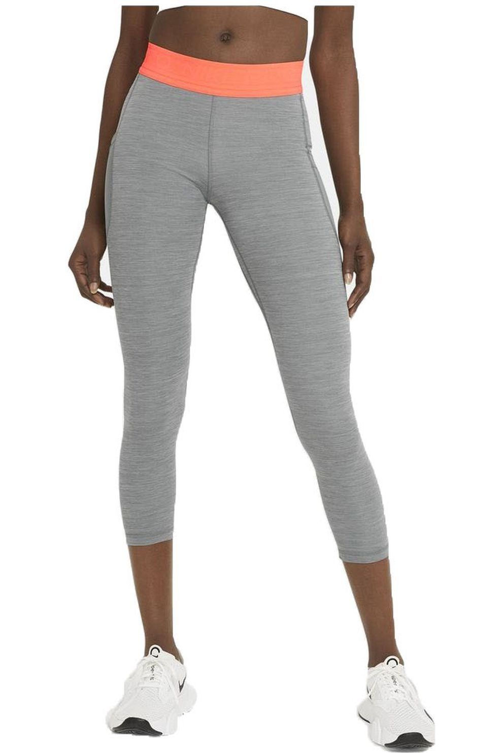 Nike Legging Pro Tight voor dames - Grijs Mengeling/Roze - Maten: XS, S, M, L