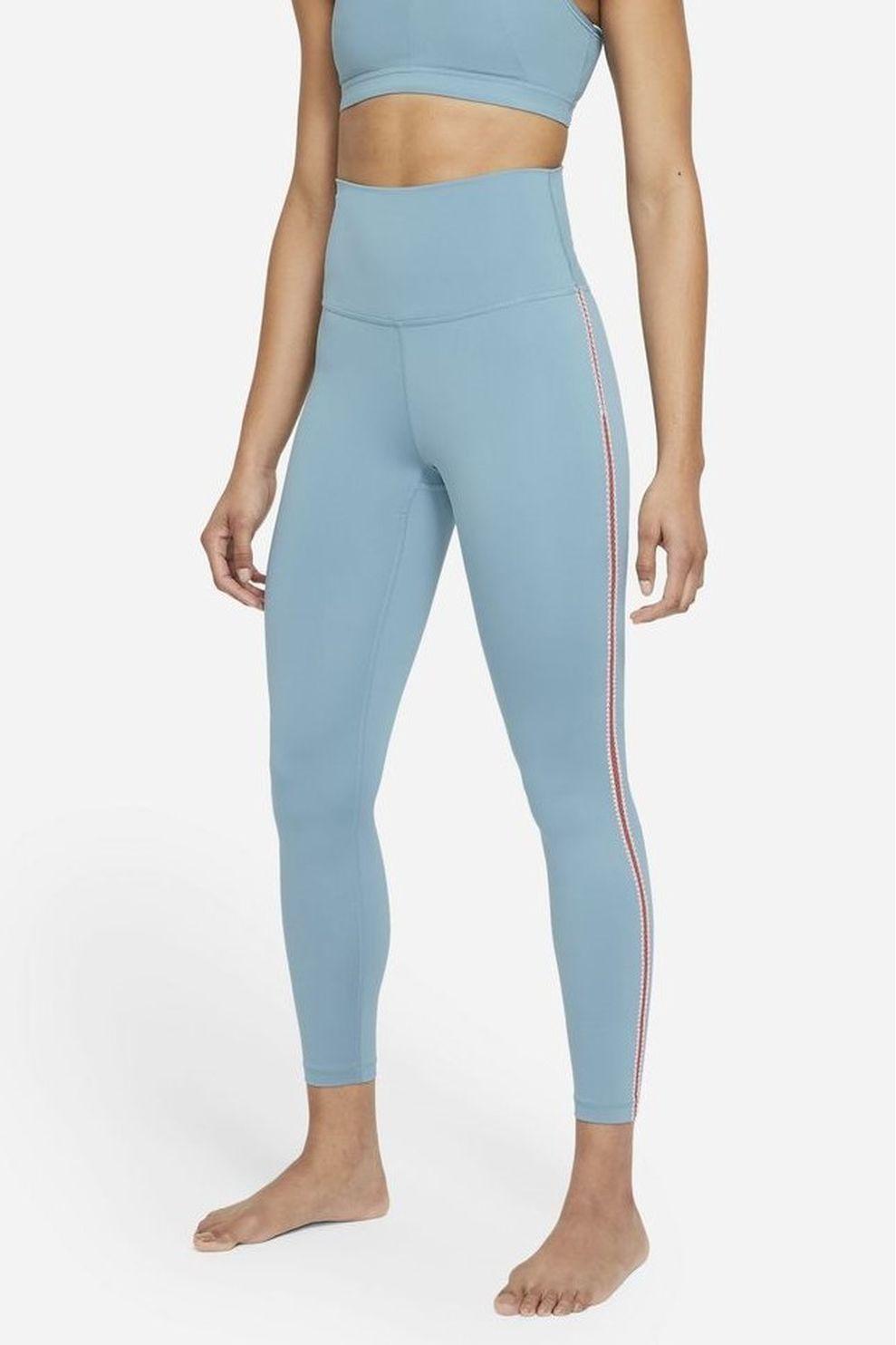 Nike Legging W 7/8 Yoga Crochet Tights voor dames - Blauw - Maten: XS, S, M, L, XL
