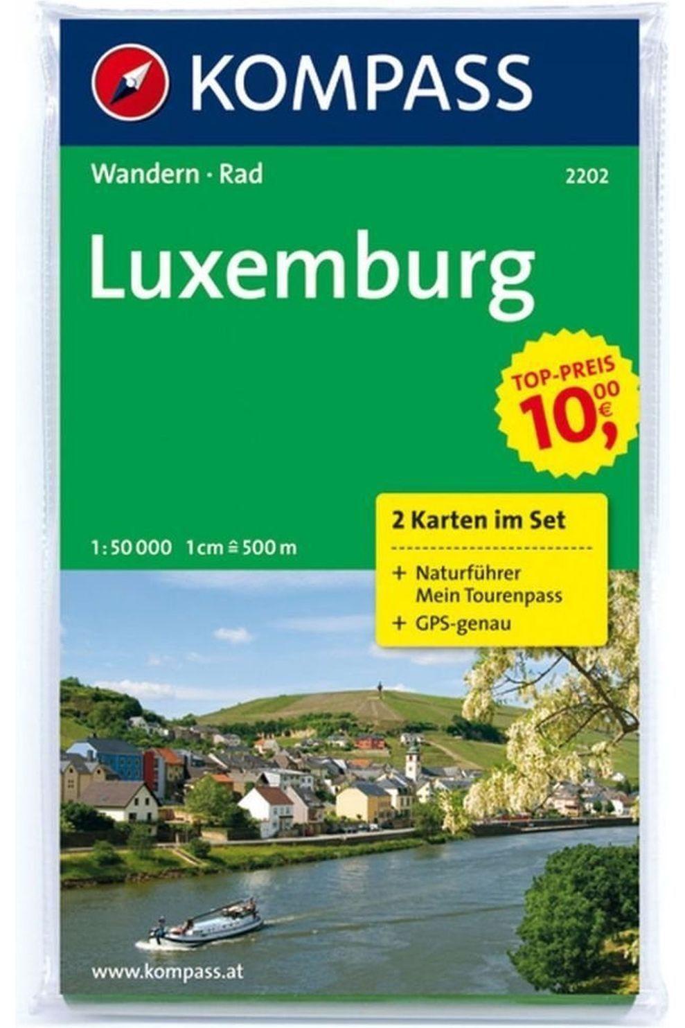 KOMPASS Livre De Voyage Luxemburg 2202 Gps 2-set Kompass +naturführer D/e/f/i