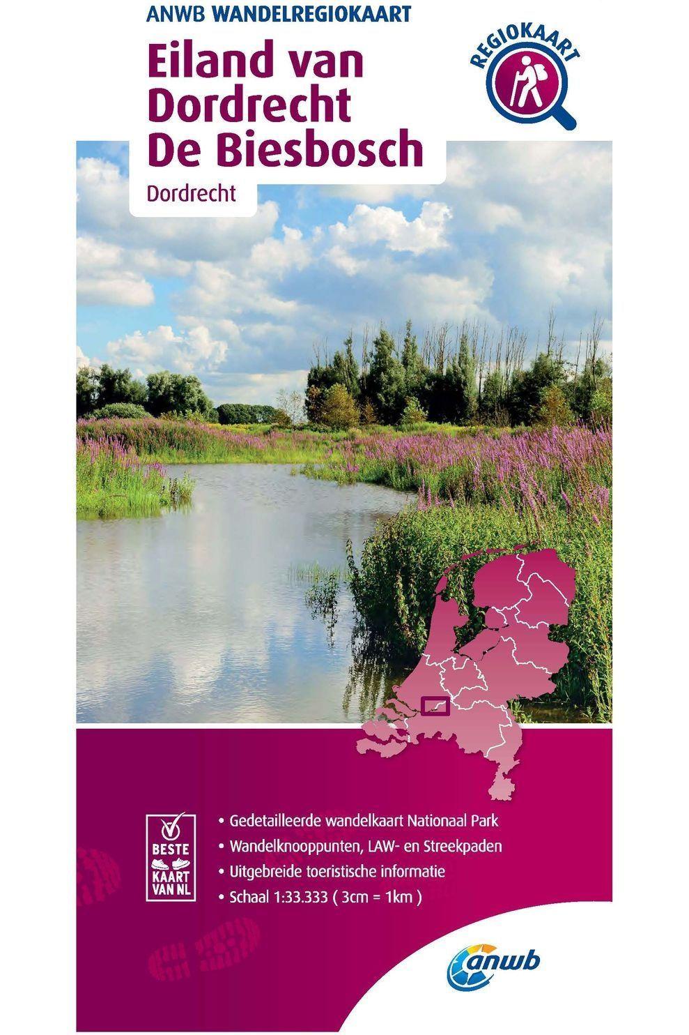 ANWB Eiland Van Dordrecht, Biesbosch Wandelregiokaart - 2020