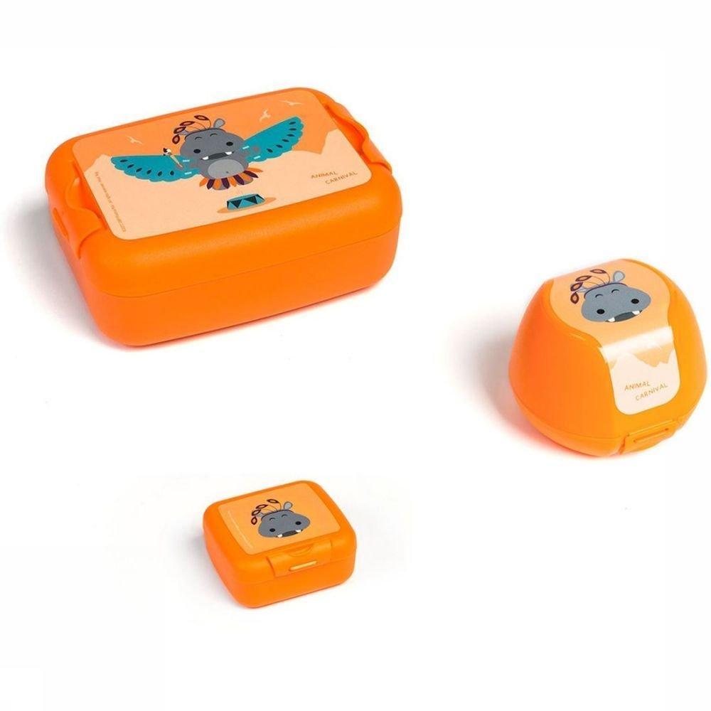Afbeelding van Amuse Voorraadpot Animal Carnival Lunch Snack En Fruitbox - Oranje