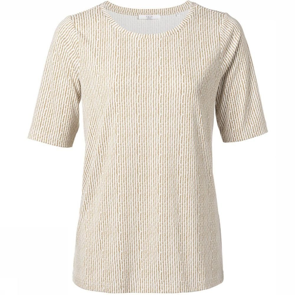 YAYA T-Shirt Rounded Hems And Striped Print voor dames Wit-Geel Maten: XS, S, M, L Nieuwe collectie