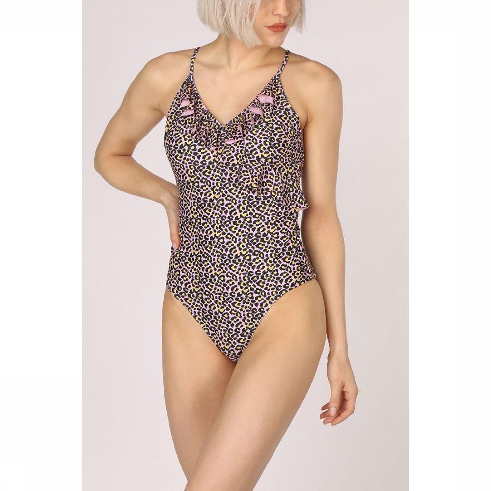 Becks�ndergaard Badpak Leo Frill Suit voor dames - Roze/Geel - Maten: S, M, L, XL - Sale