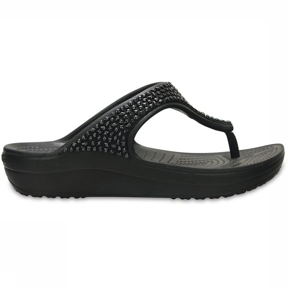 Crocs Slipper Sloane Emellished Flip voor dames Zwart-Uitzonderingen Maten: 36-37, 37-38, 38-39, 39-